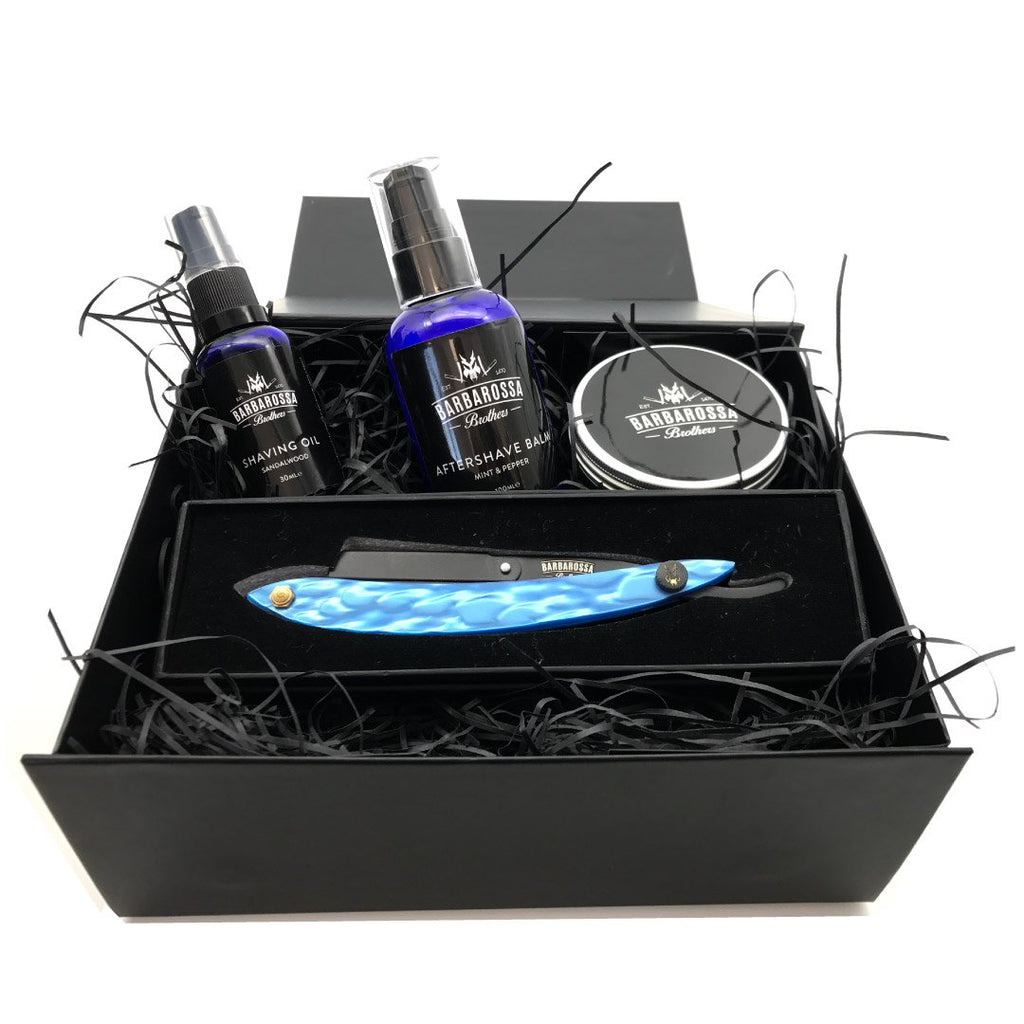 The Admiral Barber Razor Hamper Gift Set available in Red, Blue or White