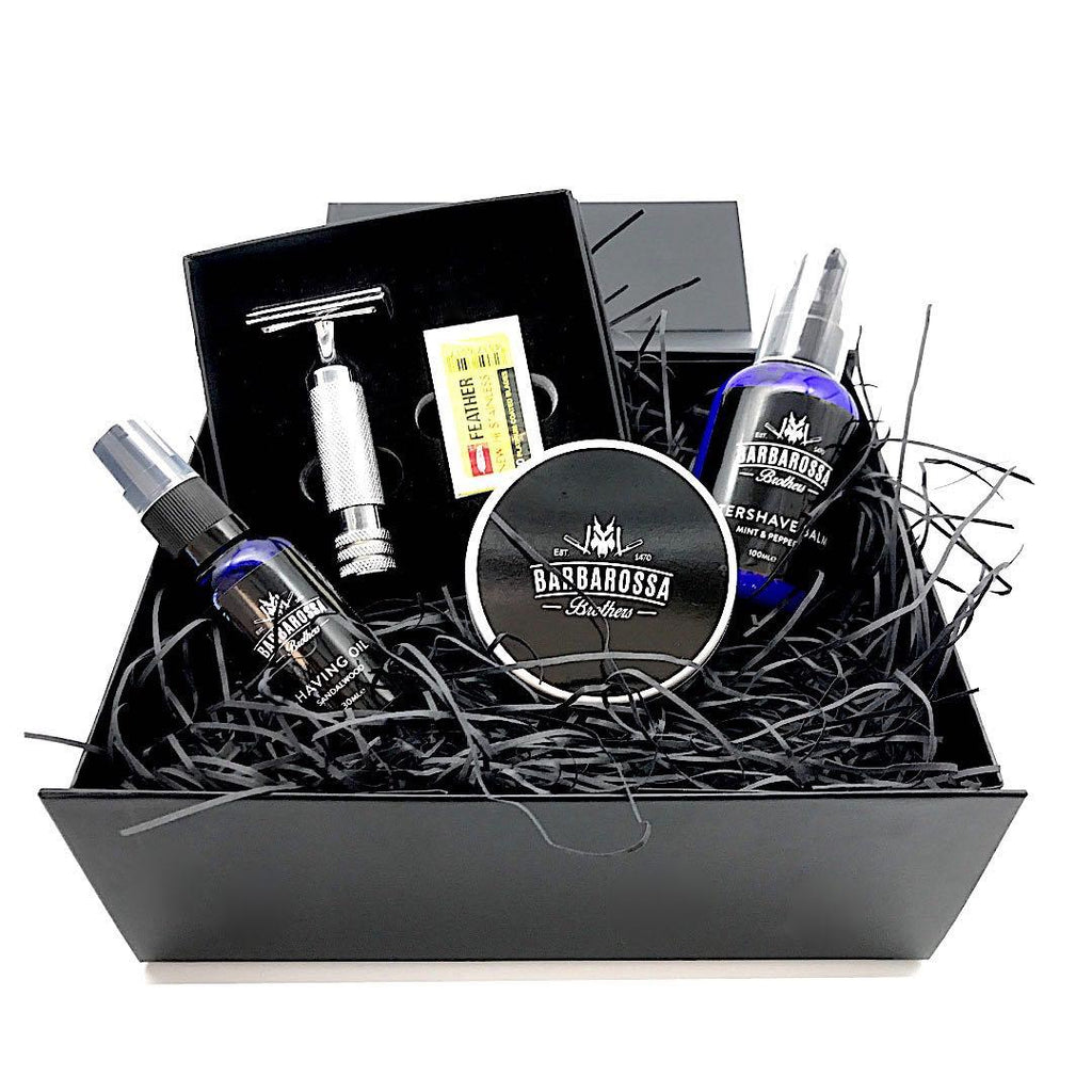 The Ottoman DE Razor Gift Set available in Matt Black, 24k Gold or Chrome