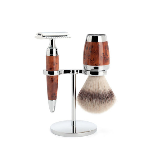 MÜHLE 'STYLO' 3-Piece Silvertip Badger Thuja Wood Shaving Set S091H71SR