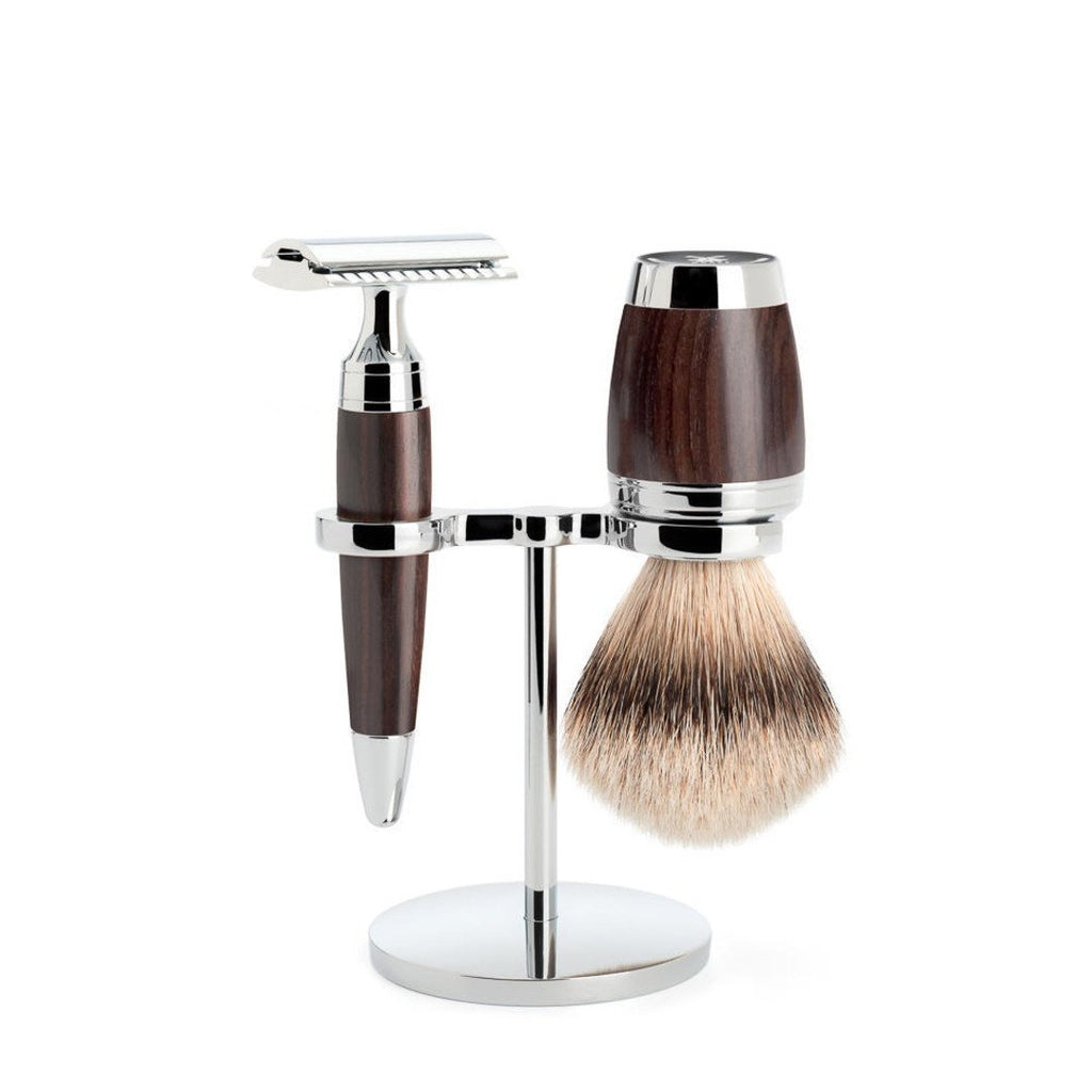 MÜHLE 'STYLO' 3-Piece Silvertip Badger Grenadille Shaving Set S091H75SR