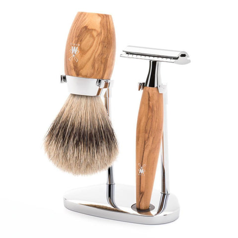 Muhle Kosmo 3pc Set in Olive Wood + 11 Free Blades