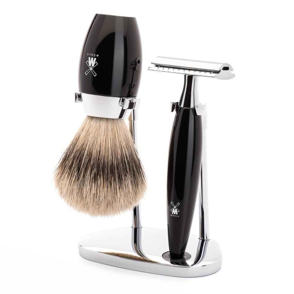 Muhle Kosmo Black Resin Safety Razor 3-Piece DE Shaving Set