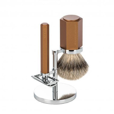 MÜHLE HEXAGON 3-Piece Shaving Set in Bronze