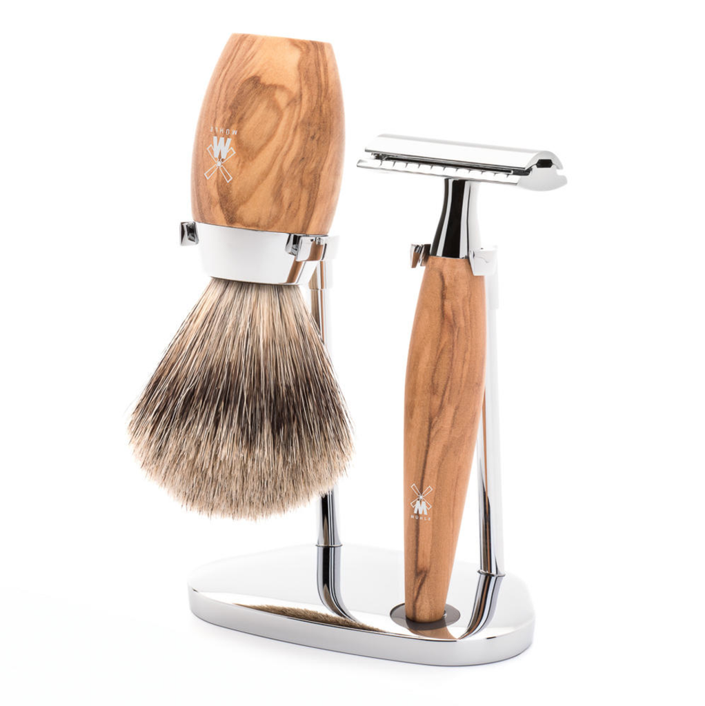 Muhle Kosmo Olive Wood Safety Razor 3-Piece DE Shaving Set