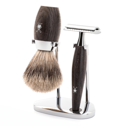 Mühle Kosmo Bog Oak Safety Razor 3-Piece Shaving Set