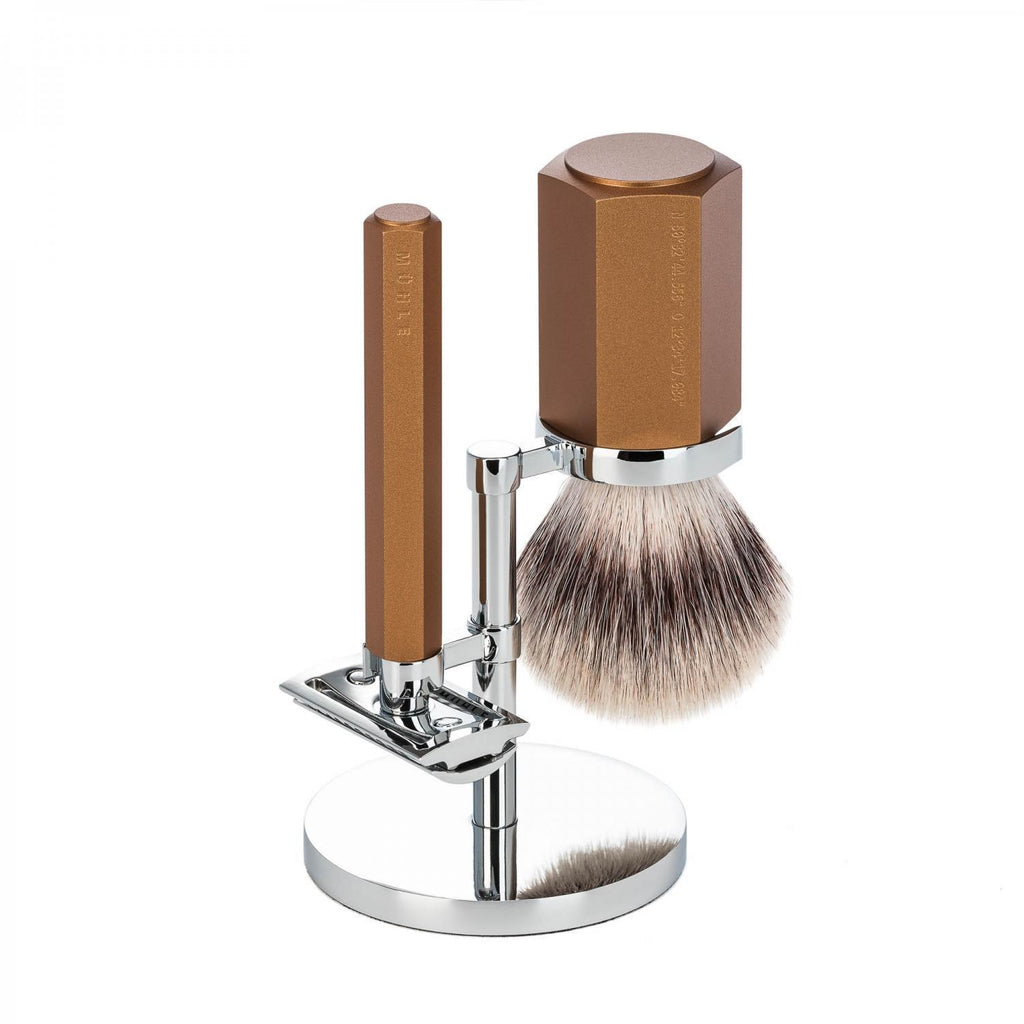 Muhle HEXAGON 3pc Bronze DE Shaving Set