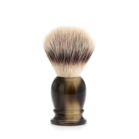 Badger Brush - MÜHLE Classic 'Silvertip' Fibre Brown Horn Small Shaving Brush 39K252