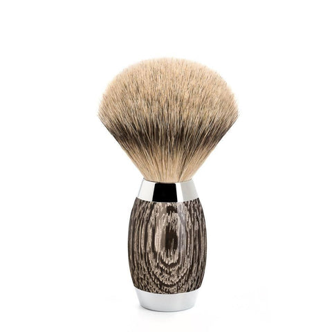 Badger Brush - Mühle Edition No.3 Bog Oak & Sterling Silver Silvertip Shaving Brush 493ED3