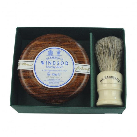 Bowl And Brush Gift Set - D R Harris Mahogany Effect Windsor Bowl And Brush Gift Set