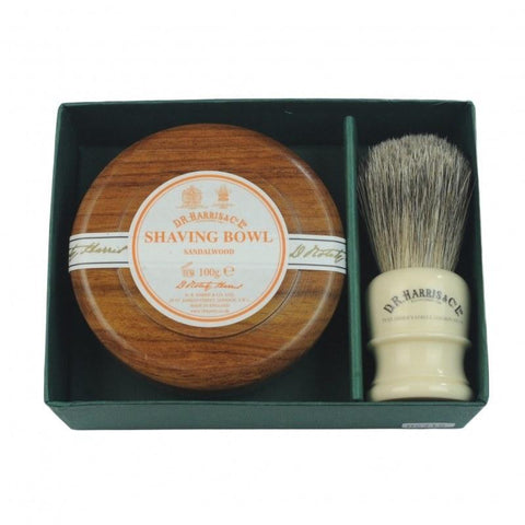 Bowl And Brush Gift Set - D R Harris Sandalwood Mahogany Effect Bowl And Brush Gift Set 100g