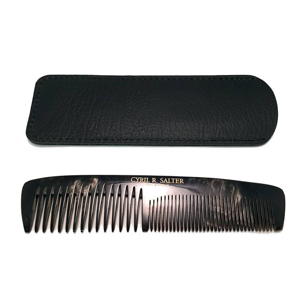 Comb - Cyril R.Salter Genuine Horn Double Tooth Comb With Leather Pouch