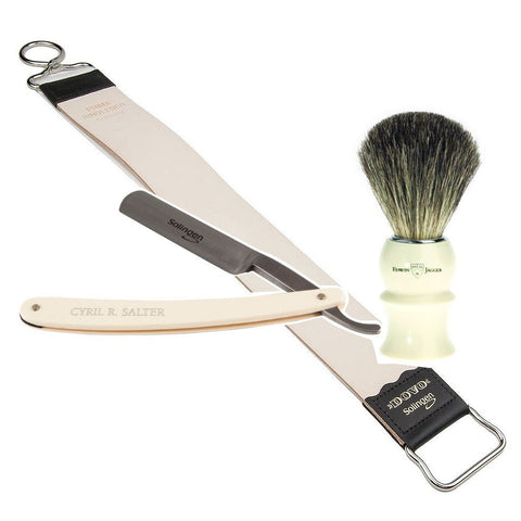 Cyril R.Salter Carbon Steel Straight Razor + Edwin Jagger Faux Ivory Badger Brush + Dovo Cowhide Leather Hanging Strop