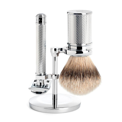Muhle Chrome Silvertip Badger / Safety Razor (Closed Comb) Shaving Set S091M89SR