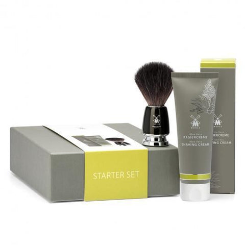 Muhle STARTER SET Aloe Vera Shaving Cream & RYTMO Black Fibre Shaving Brush