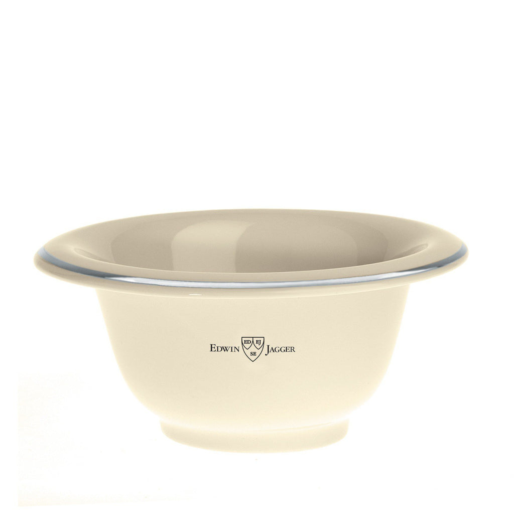 Shaving Bowl - Edwin Jagger Ivory Porcelain Shaving Soap Bowl With Silver Rim