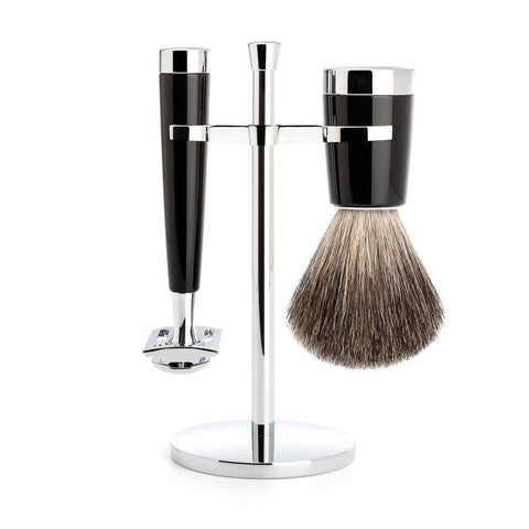 Shaving Set - MÜHLE Liscio Black And Chrome Pure Badger 3 Piece Shaving Set
