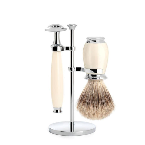 Shaving Set - Mühle Purist 3 Piece Shaving Set Ivory Resin (Badger Hair)