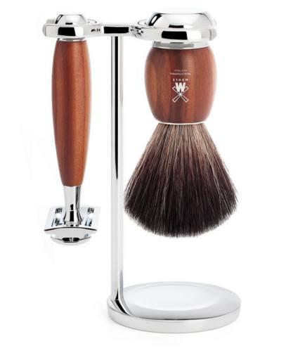 Shaving Set - MÜHLE Vivo Plum Wood And Chrome 3 Piece Shaving Set With Black Fibre Brush (Animal Free) S21H331SR