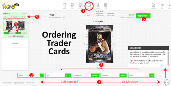 Ordering Trader Cards From Signs365