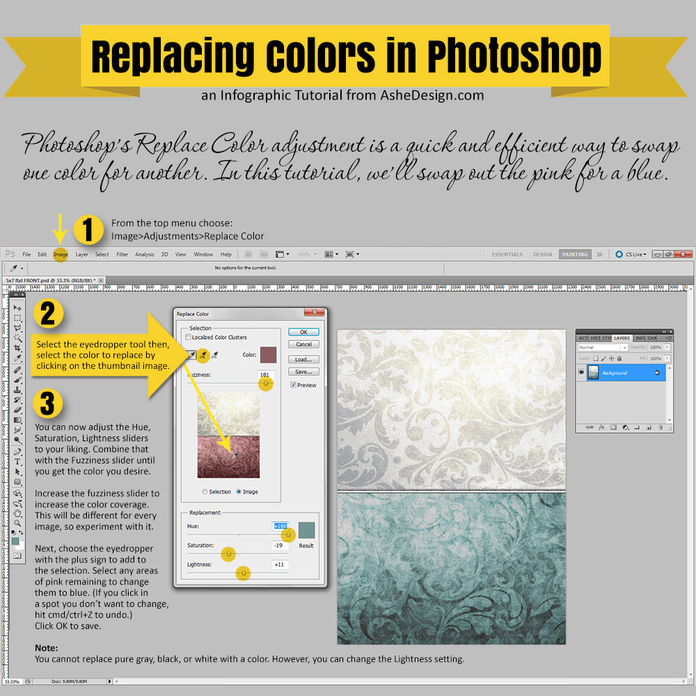 Replace Color in Photoshop Tutorial