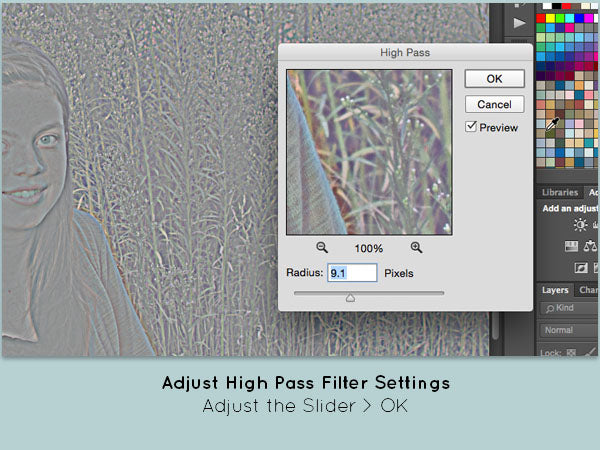 Adjust the High Pass Filer