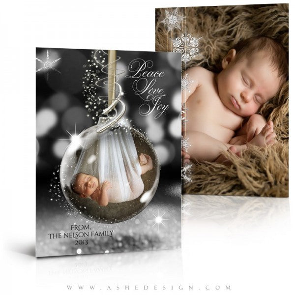 Star Dust Glass Ornament Holiday Card