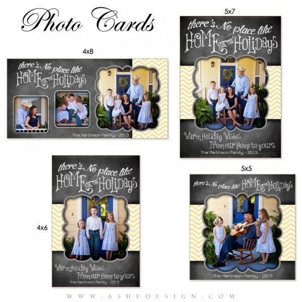 At number 5 we have a truly fun holiday card for families. While available in the 5x7 press printed cards, the number 5 design is another photo card set! This Chalkboard Chevron design combines two fun and trendy design elements with a large photo box for a nice family picture from your session. This card also combines a fun chalkboard look with a real pop of color. Design note: While we used yellow, you can easily use any color in the chevron pattern by simply changing the background color!