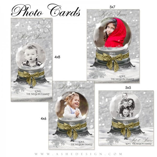 Snow Globe Let it Snow Photo cards