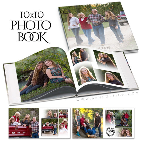 Family Photo Book 10x10 | Faded open book