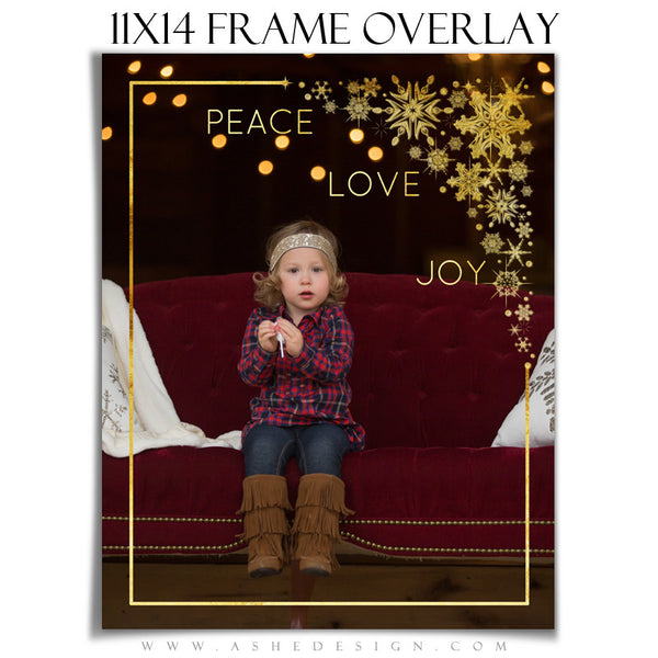Customizable Designer Gems | Golden Snowflake Frame Overlay 11x14