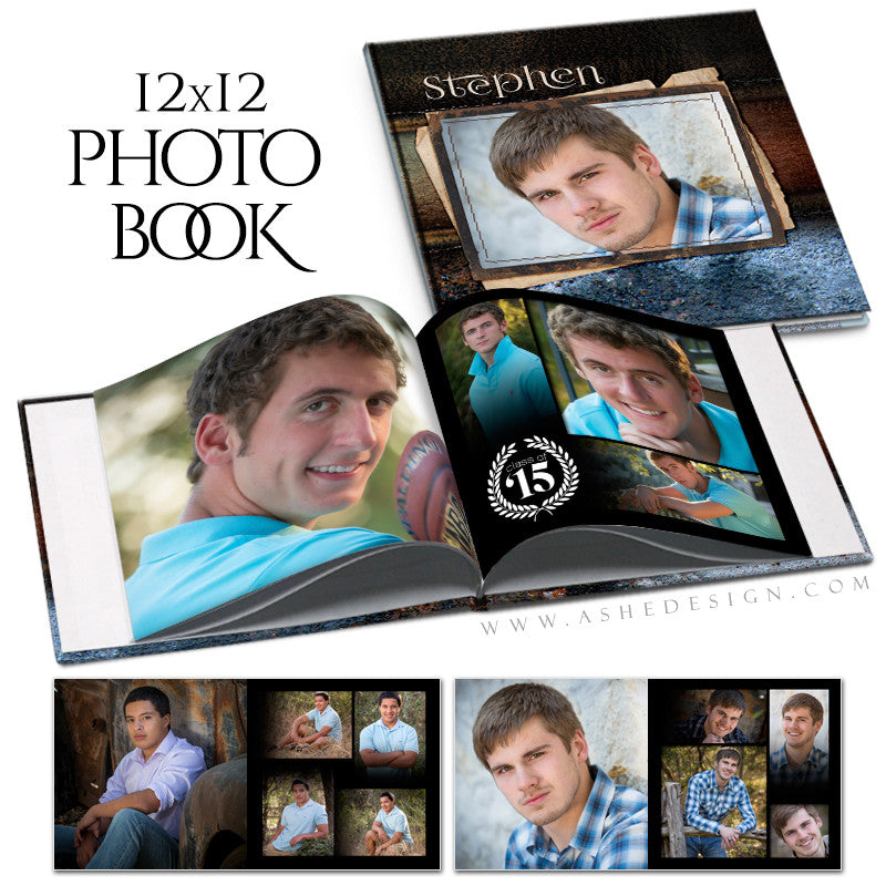 Senior Boy 12x12 Photo Book | Leather Stitched open book