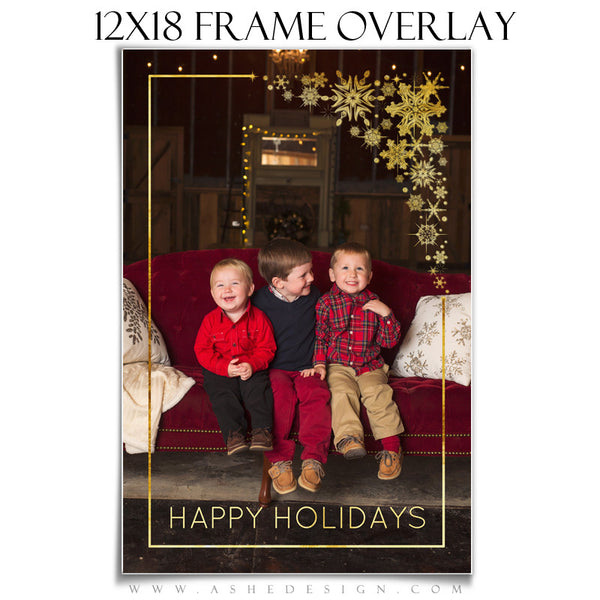 Customizable Designer Gems | Golden Snowflake Frame Overlay 12x18