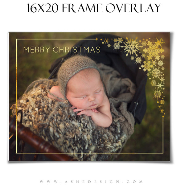 Customizable Designer Gems | Golden Snowflake Frame Overlay 16x20