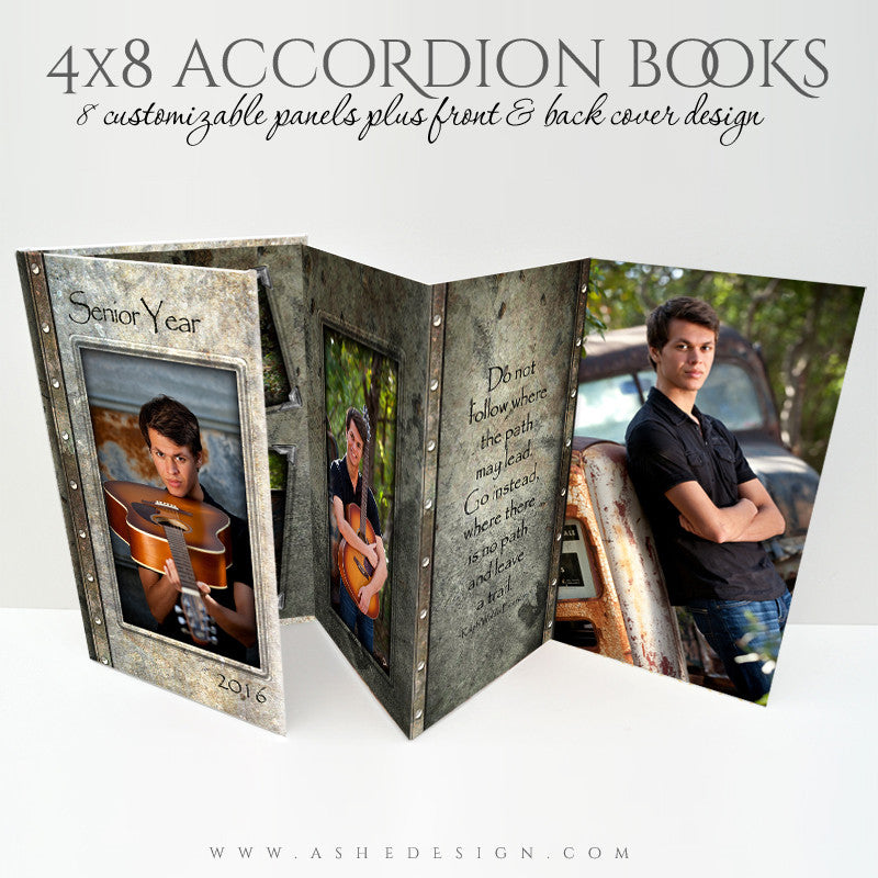 Senior Boy 4x8 Accordion Photo Book | Granite full