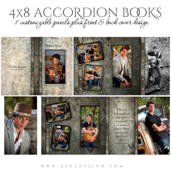 Senior Boy 4x8 Accordion Photo Book | Granite layout