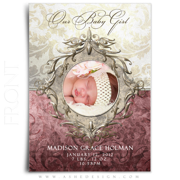 Madison Grace Birth Announcement Front
