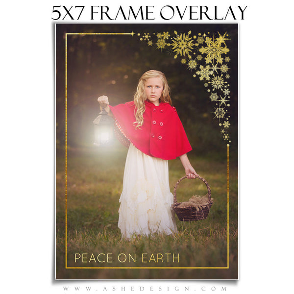 Customizable Designer Gems | Golden Snowflake Frame Overlay 5x7
