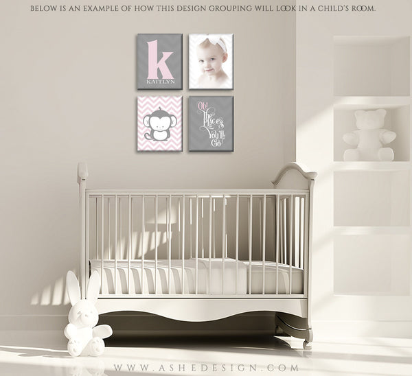 Wall Groupings Children Photography Templates | Chevron Baby room