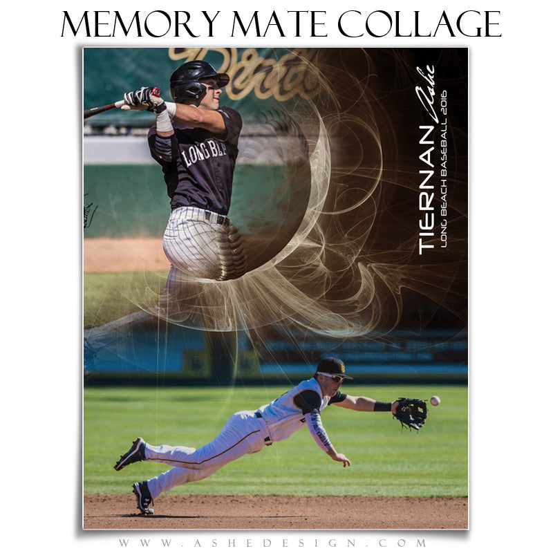 Ashe Design | Sports Memory Mates | Photoshop Templates | 8x10 | Mystic Explosion | Baseball | Vertical