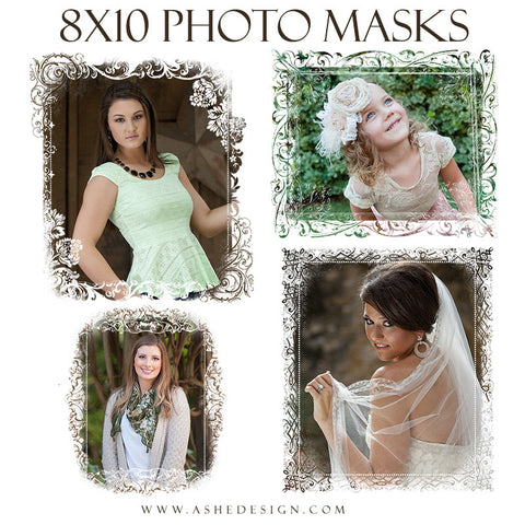 Ashe Design | Designer Gems 8x10 Photo Masks | Floral Damask