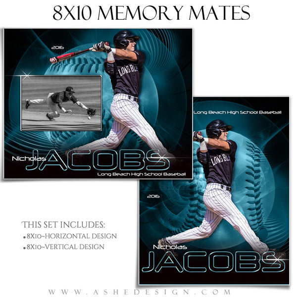 Ashe Design | 8x10 Memory Mate | Photoshop Templates | Abstract Baseball/Softball