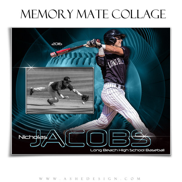 Ashe Design | 8x10 Memory Mate | Photoshop Templates | Abstract Baseball/Softball hz