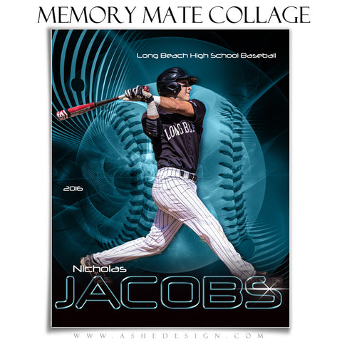 Ashe Design | 8x10 Memory Mate | Photoshop Templates | Abstract Baseball/Softball vt
