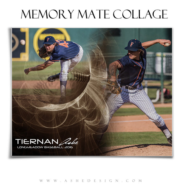 Ashe Design | Sports Memory Mates | Photoshop Templates | 8x10 | Mystic Explosion | Baseball | Horizontal