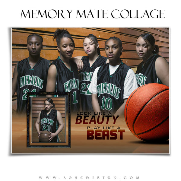 Ashe Design | Sports Memory Mates | 8x10 Horizontal | Beauty And The Beast Basketball