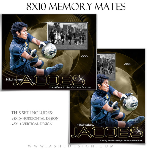 Ashe Design | 8x10 Memory Mate | Photoshop Templates | Abstract Soccer
