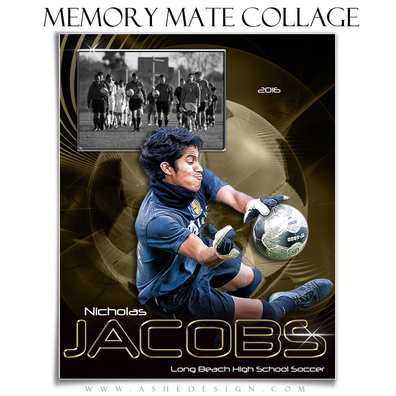 Ashe Design | 8x10 Memory Mate | Photoshop Templates | Abstract Soccer vt