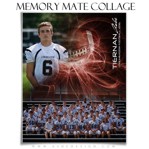 Ashe Design | Sports Memory Mates | Photoshop Templates | 8x10 | Mystic Explosion | Football | Vertical