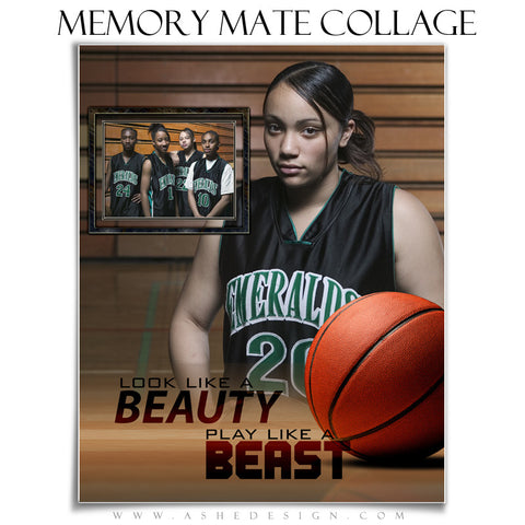 Ashe Design | Sports Memory Mates | 8x10 Vertical | Beauty And The Beast Basketball