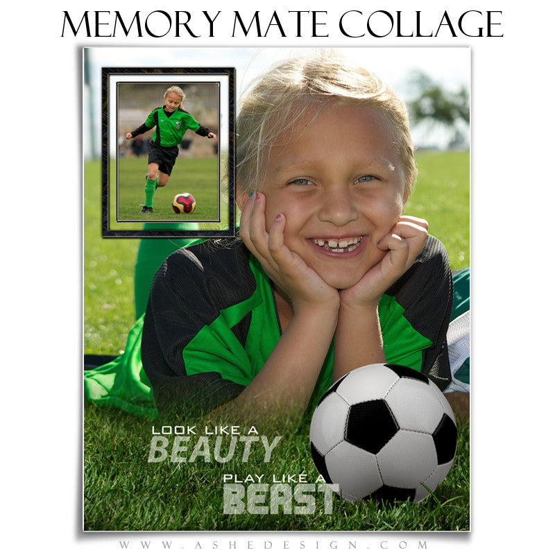 Ashe Design | Sports Memory Mates | 8x10 Vertical | Beauty And The Beast Soccer
